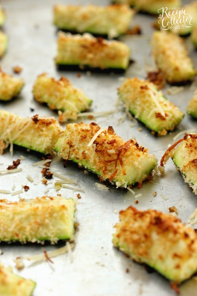 Parmesan Crusted Zucchini Oven Fries - Sliced zucchini coated with panko breadcrumbs and shredded Parmesan roasted in the oven. It makes a perfect healthy side dish.