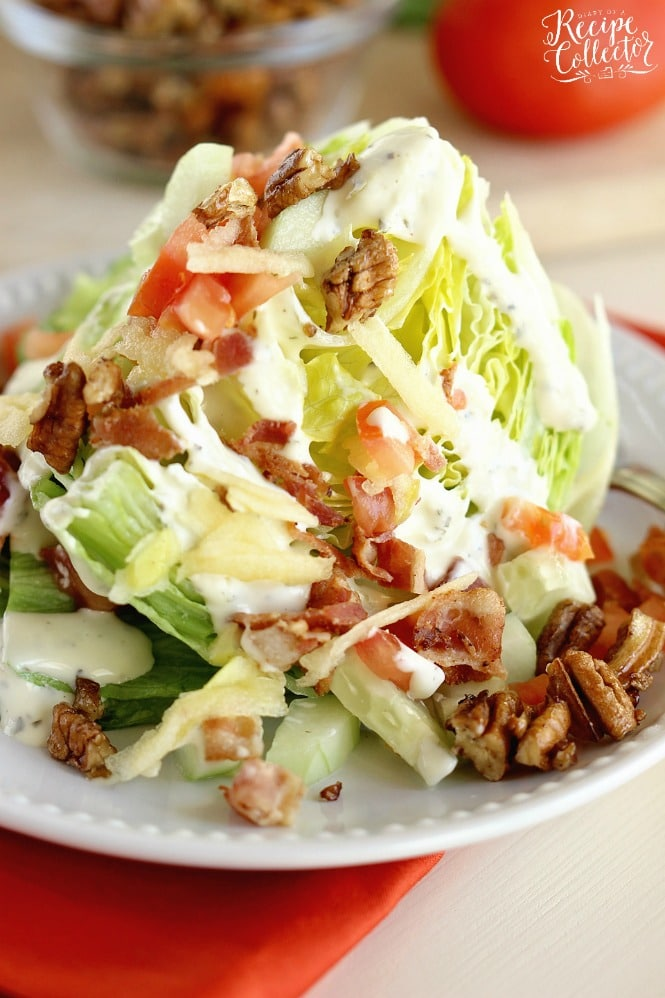 Candied Pecan & Apple Wedge Salad - An easy salad side idea with the perfect combination of sweet and salty flavors.