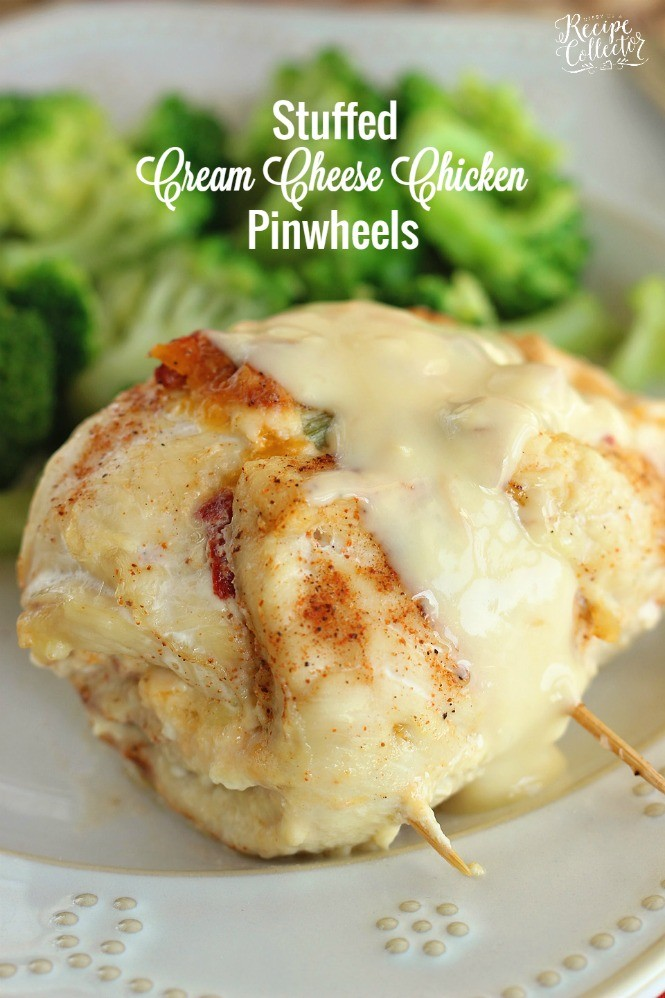 Stuffed Cream Cheese Chicken Pinwheels - Diary of A Recipe Collector
