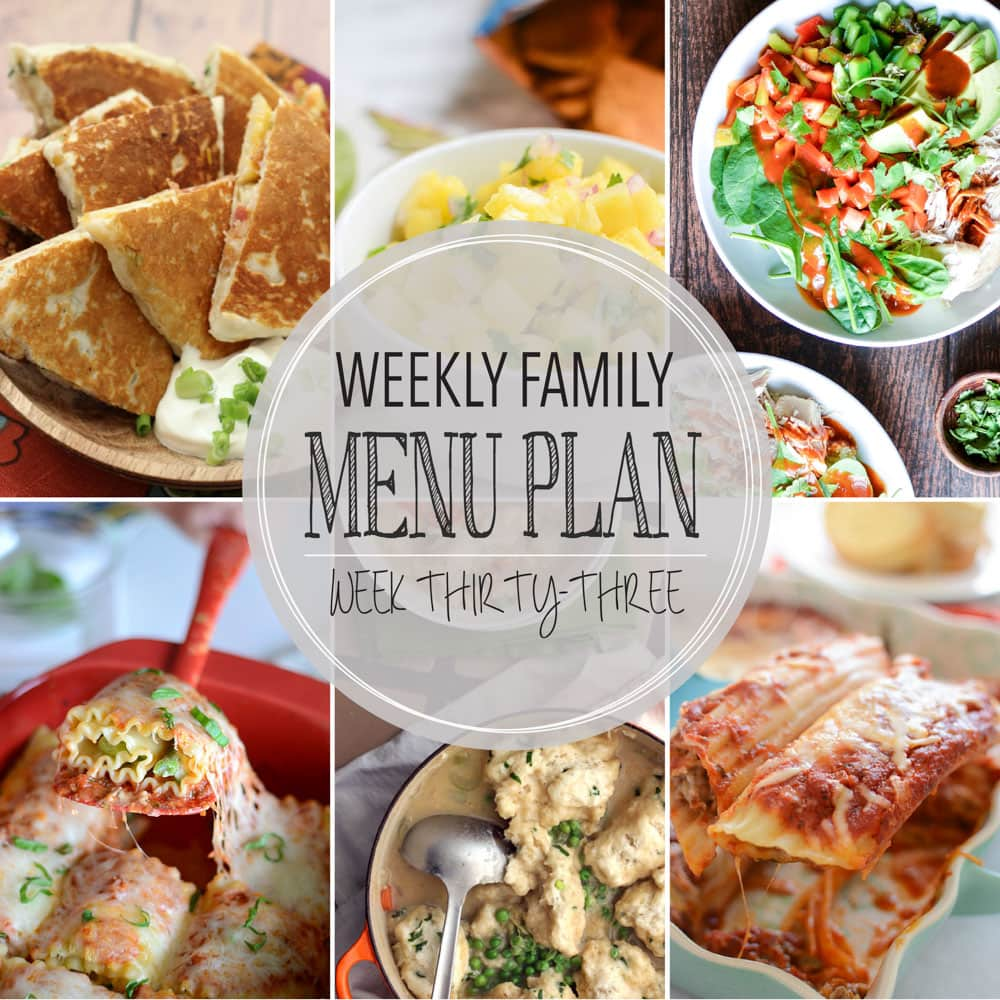Weekly Family Meal Plan #33