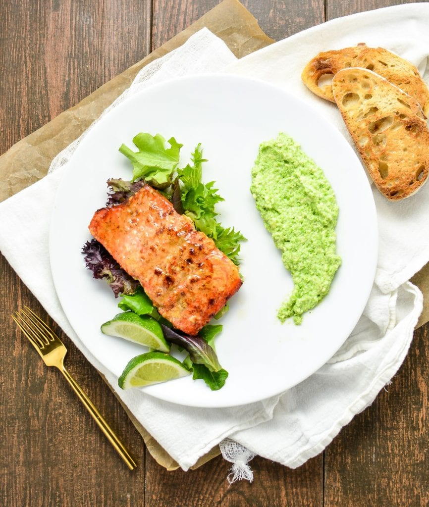 Weekly Family Meal Plan - Oven Roasted Salmon with a Spring Pea Parmesan Puree