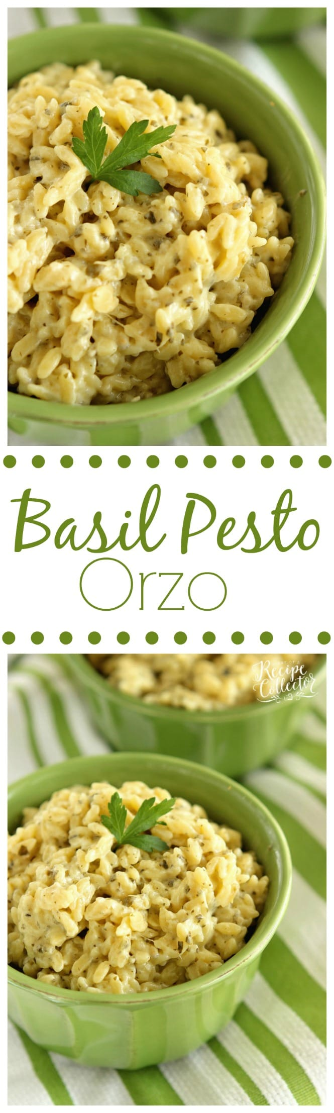 Basil Pesto Orzo - A quick and easy side dish made with only 4 ingredients! Plus it can be made gluten free too!