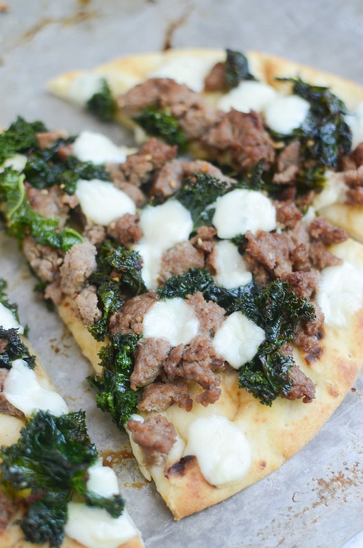 Sausage Kale Naan Pizza