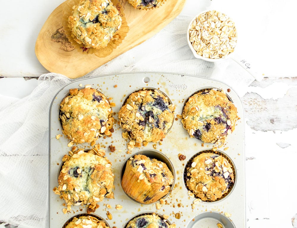 Blueberry Sour Cream Oat Muffins