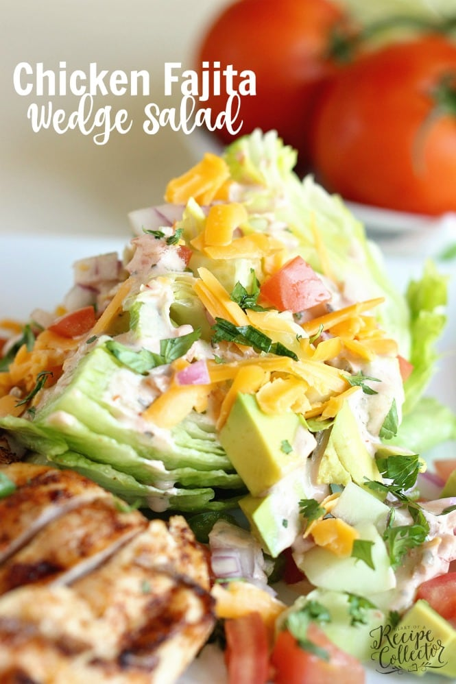 This Chicken Fajita Wedge Salad is a perfect way to enjoy fajitas in a light, healthy, and low-carb way!