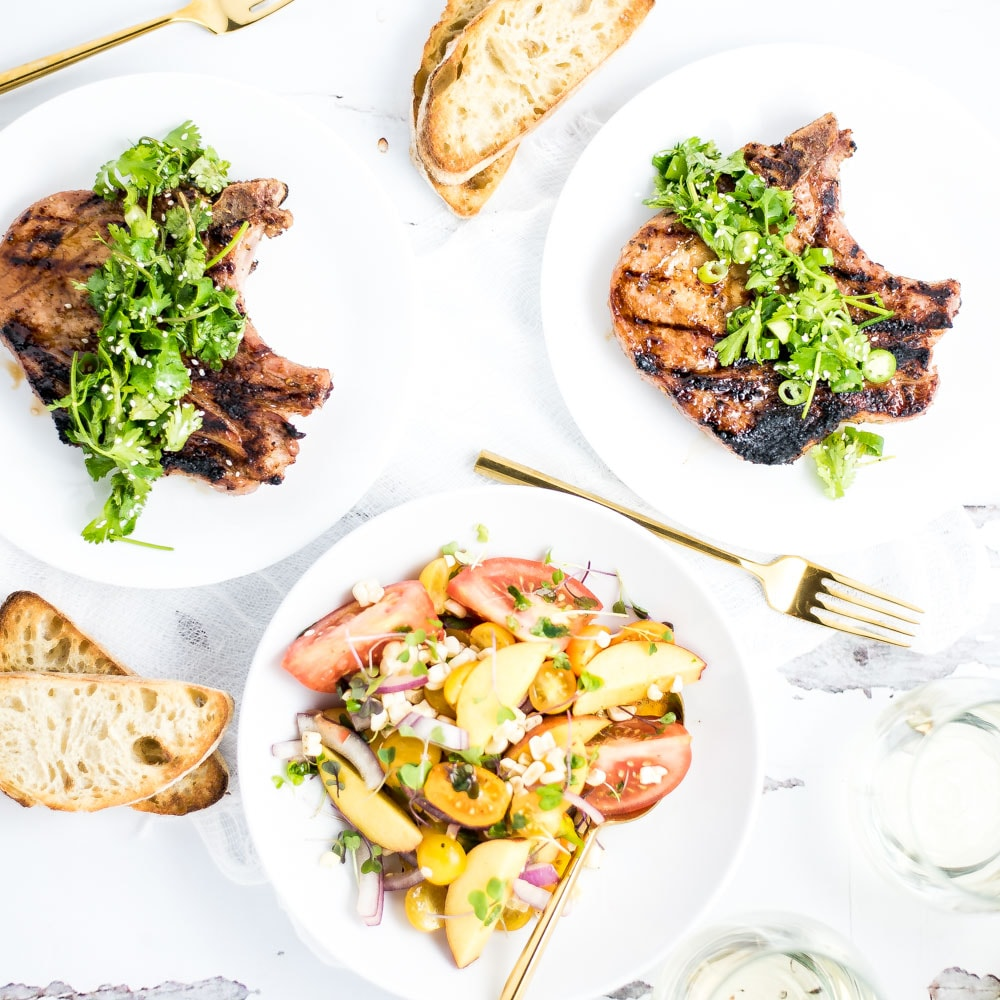 Weekly Family Meal Plan - Grilled Pork Chops with Tomato & Peach Salad