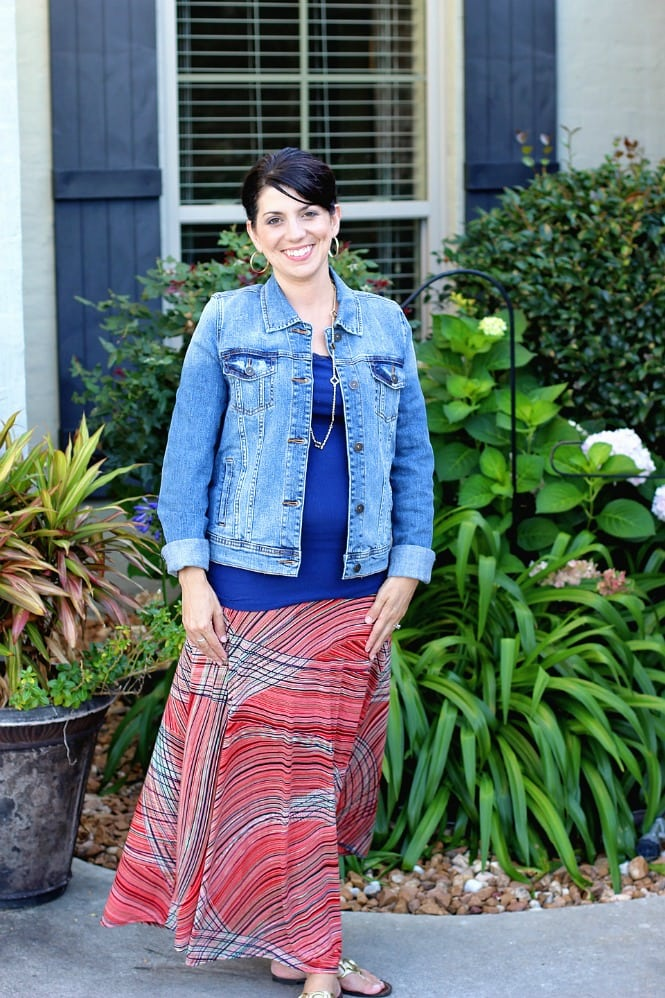 Stitch Fix Styles - Renee C Kira Printed Maxi Skirt with Just USA Morrie Boyfriend Denim Jacket