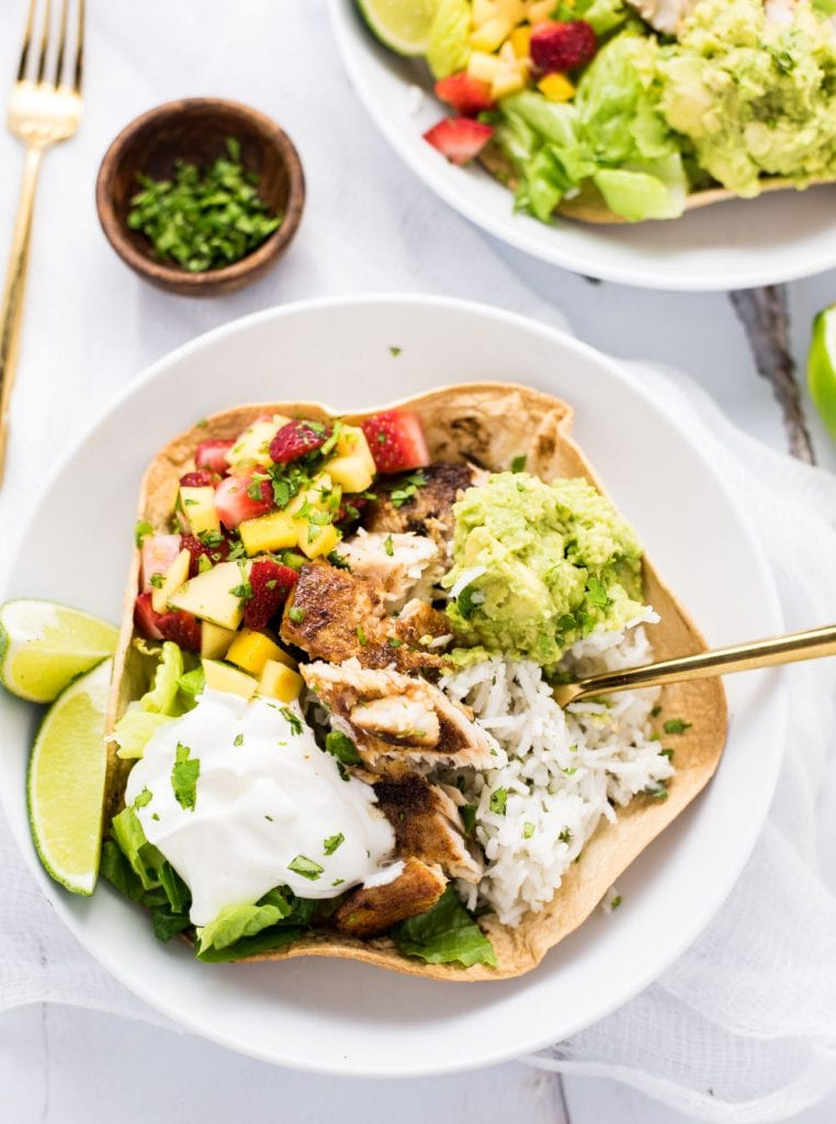 Weekly Family Meal Plan - Grilled Fish Taco Burrito Bowls