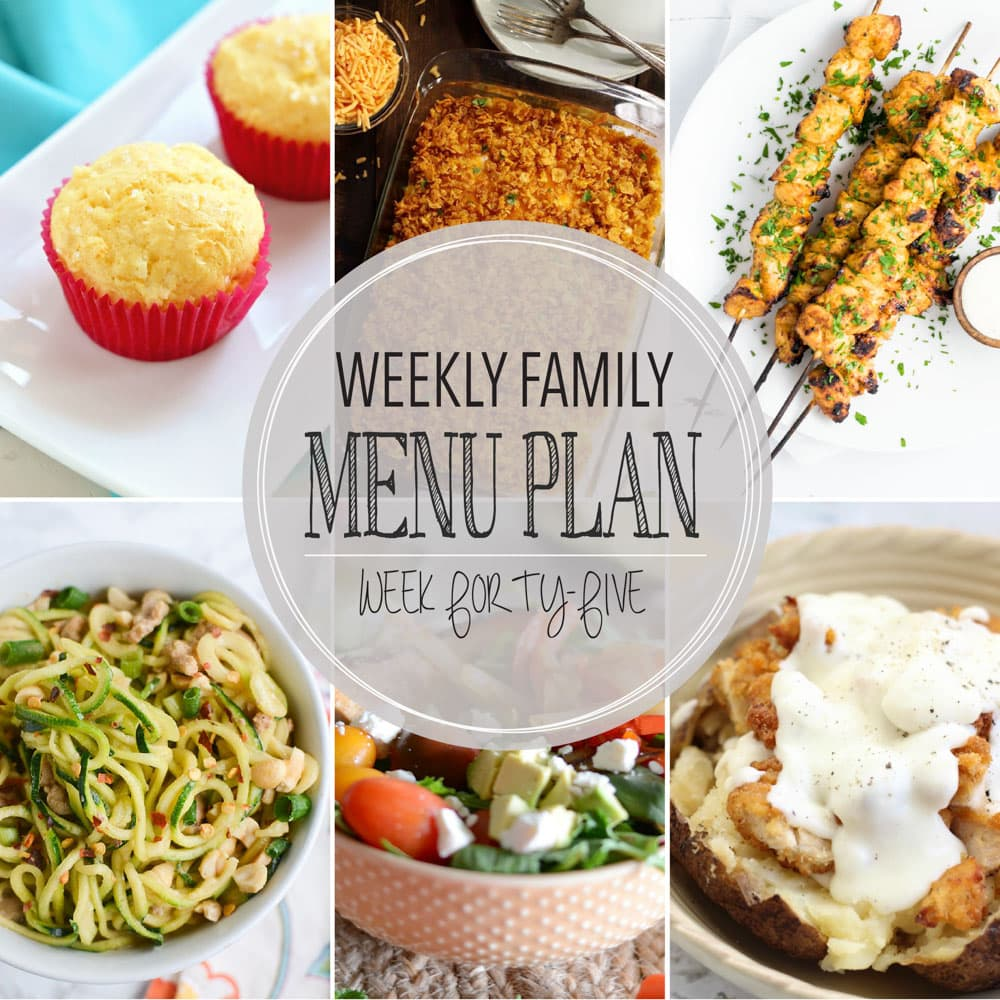 Weekly Family Meal Plan - Includes four weeknight meals, a side dish, a breakfast, a dessert, and a snack idea!!