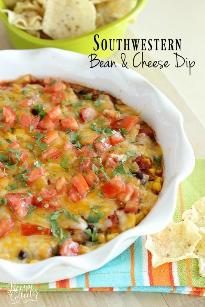 Southwestern Bean & Cheese Dip - A quick oven-baked dip made with layers of cream cheese, salsa, black beans, corn, melted cheese, tomatoes, and cilantro!