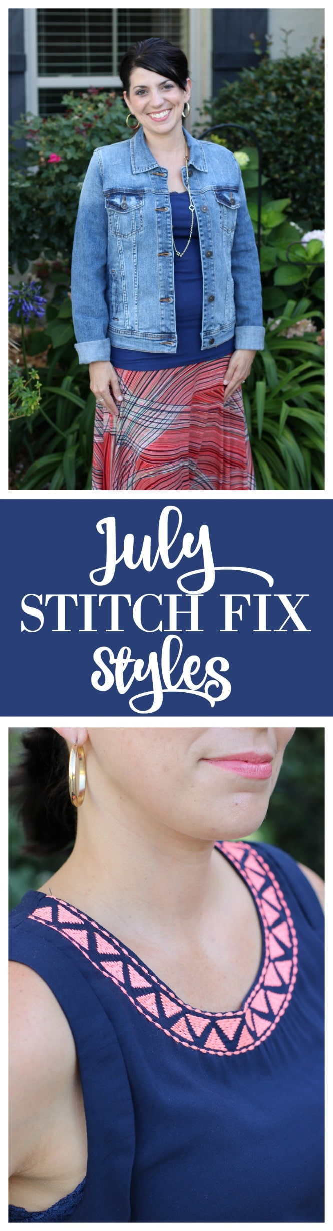Stitch Fix Styles for July - Denim Morrie Boyfriend Jacket, Renee C Kira Printed Maxi Skirt, and Pixley Embroidered Top