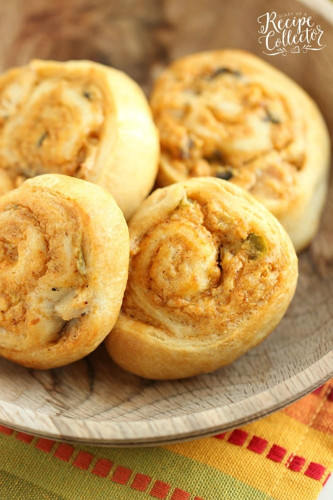 Crescent Chicken Taco Pinwheels - An easy appetizer recipe filled with diced chicken, cream cheese, taco seasoning, and green chiles. It's perfect for when you need a quick snack or dinner idea too!