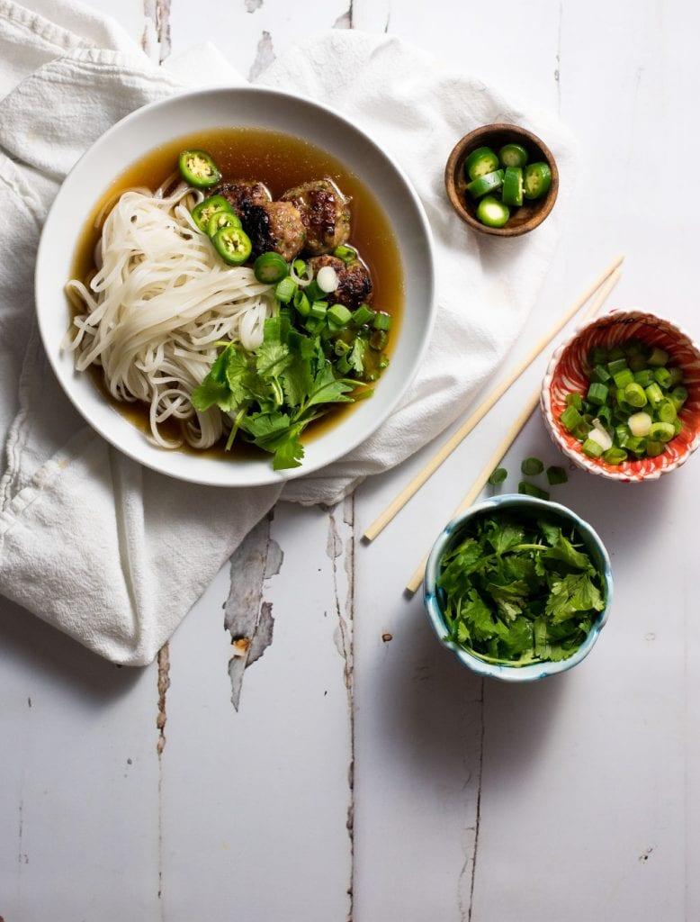 Vietnamese Meatball Pho Soup