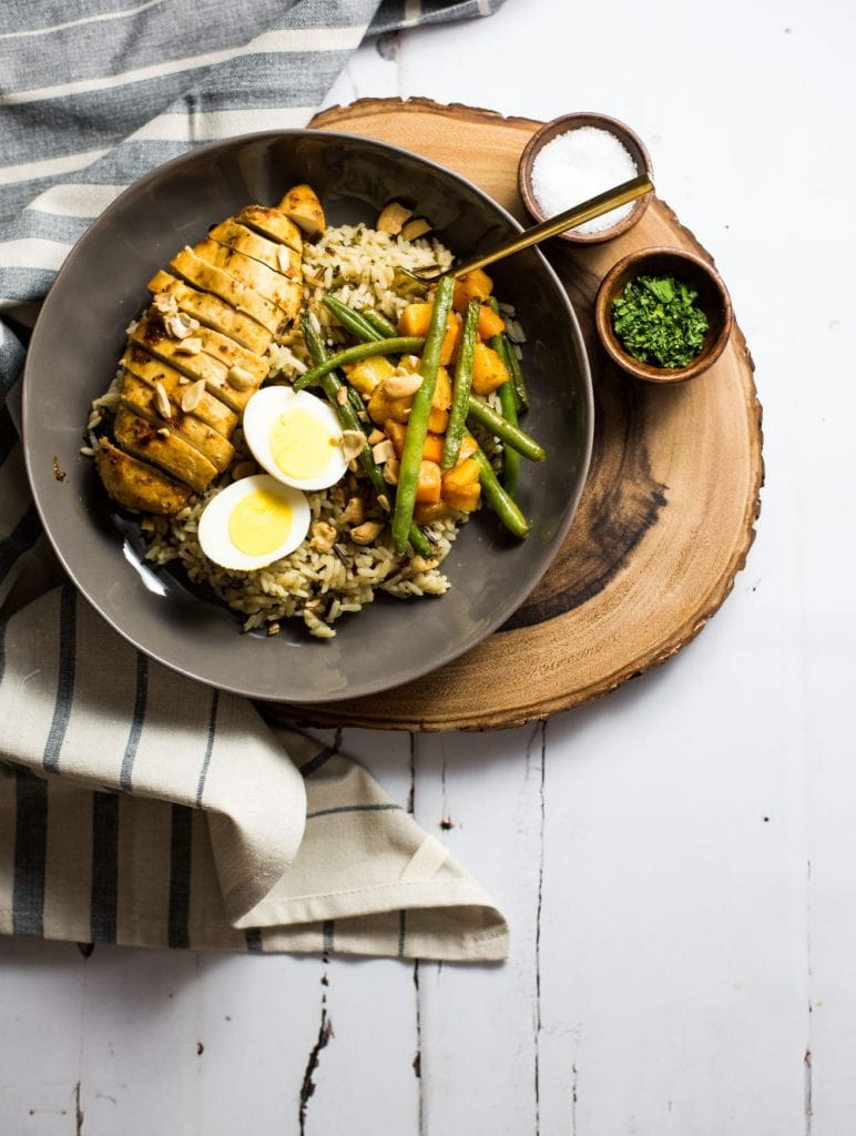 Brown Butter Rice Bowls with Marinated Chicken & Roasted Veggies