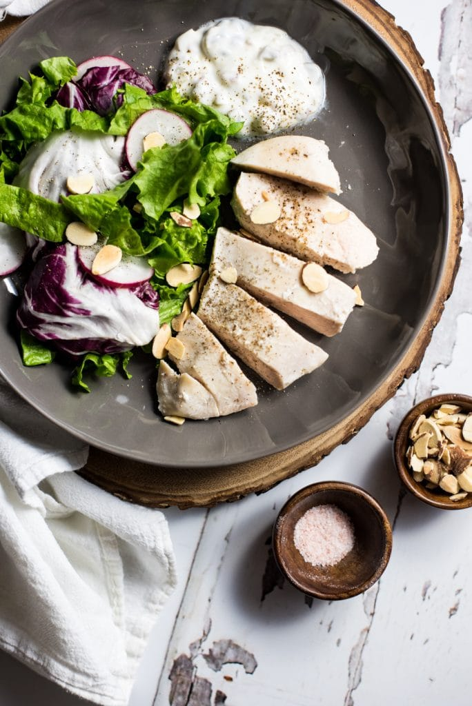 Buttermilk-Poached Chicken with Dressed Greens