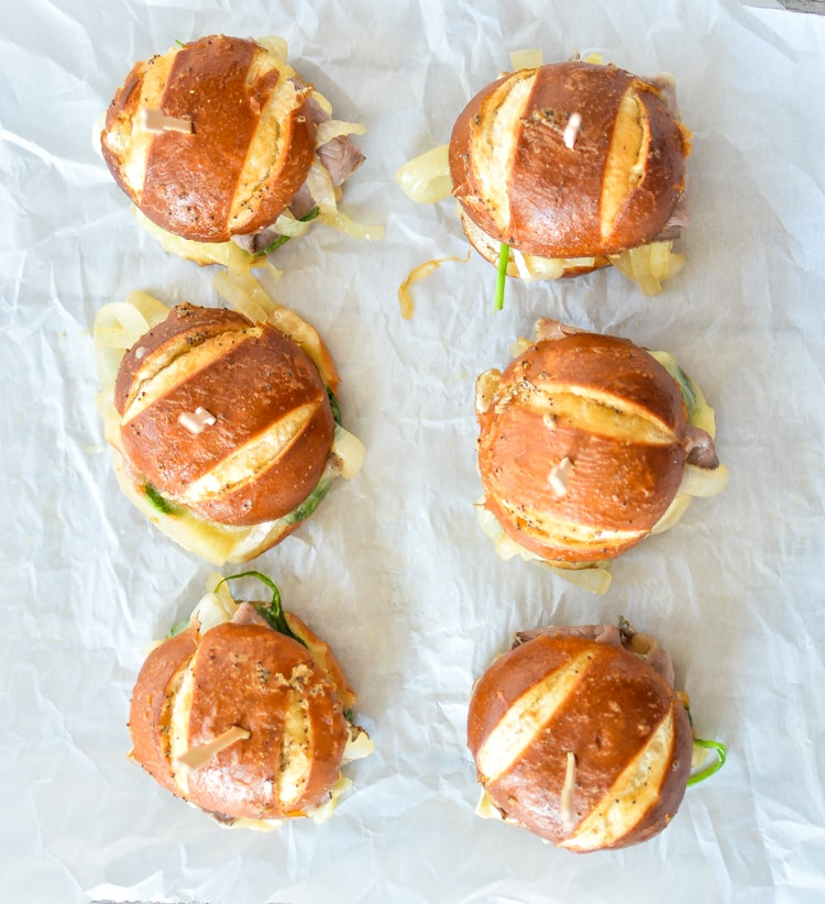 Baked Roast Beef and Brie Sliders with Caramelized Onions