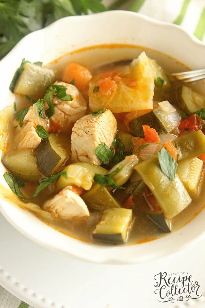 Skinny Chicken and Vegetable Soup - This healthy soup is filled with tons of great vegetables and chicken in a light broth. It will leaving you feeling full and guilt-free!!