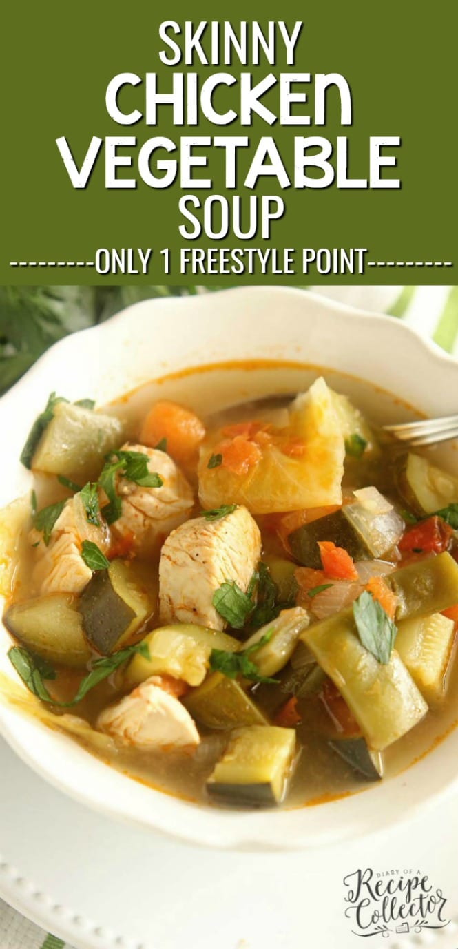 Skinny Chicken and Vegetable Soup - This healthy soup is filled with tons of great vegetables and chicken in a light broth. It will leaving you feeling full and guilt-free!!  Plus, it's only 1 freestyle weight watchers point!!