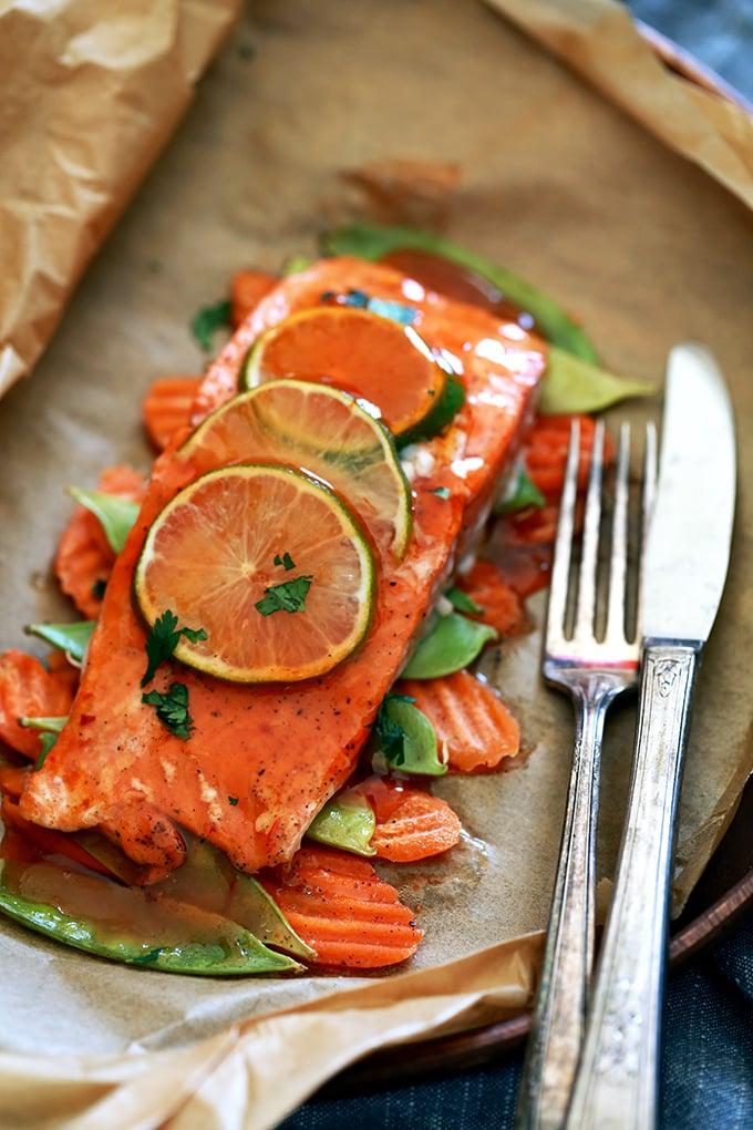 Thai Sweet Chili-Glazed Salmon in Parchment