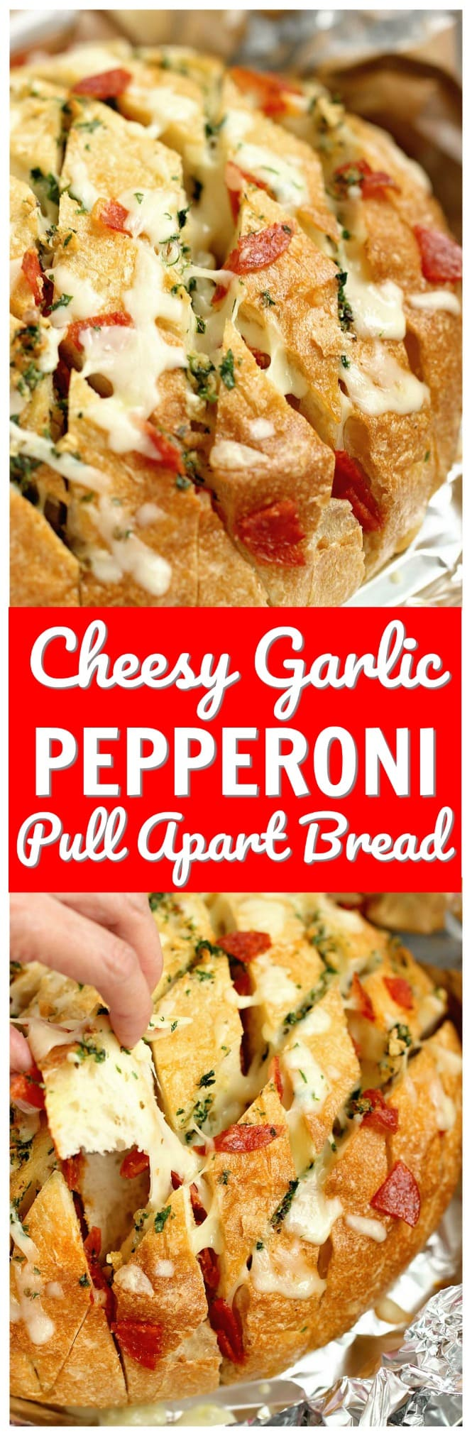 Cheesy Pepperoni Garlic Pull Apart Bread is a packed with tons of garlic herb flavor and makes the perfect appetizer and snack idea!
