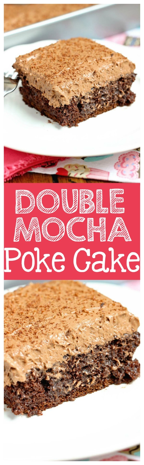 Double Mocha Poke Cake - An easy poke cake recipe using a box cake mix doctored up with pudding mix and expresso powder. It's topped with a heavenly mocha pudding whipped icing!