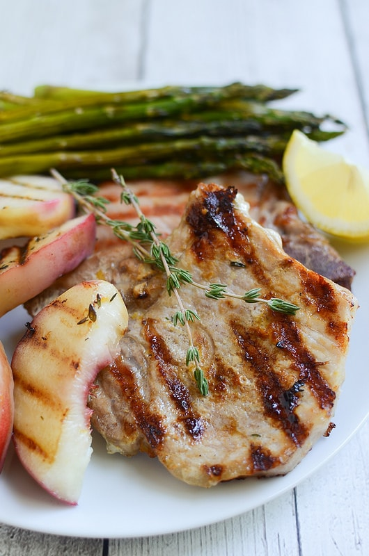 Grilled Lemon Thyme Pork Chops with Peaches