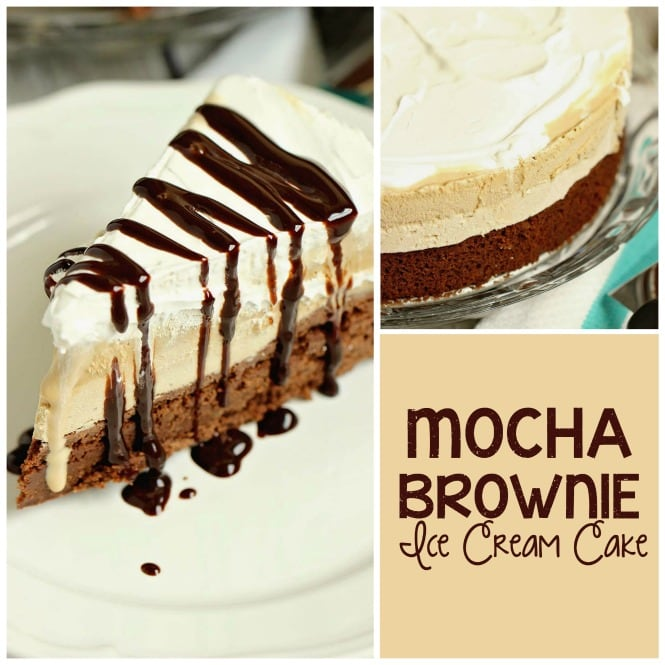 Mocha Brownie Ice Cream Cake - Layers of delicious brownie, coffee cream cheese , coffee ice cream, and whipped topping.  If you love an iced mocha frappe, then you will love this dessert!