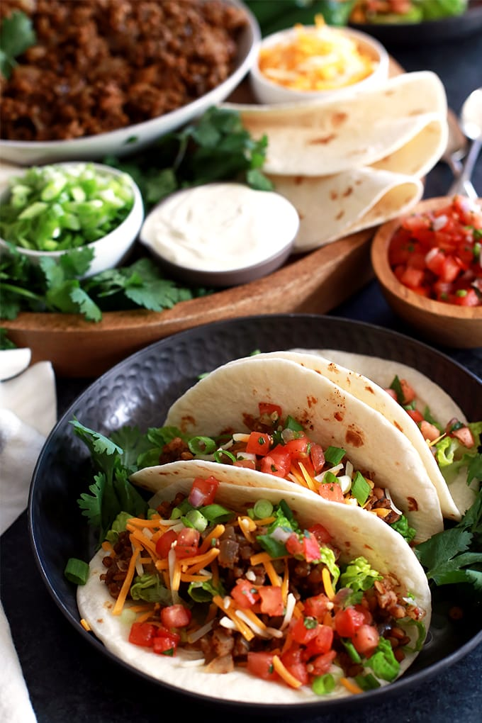 Slow Cooker Lentil Brown Rice Tacos