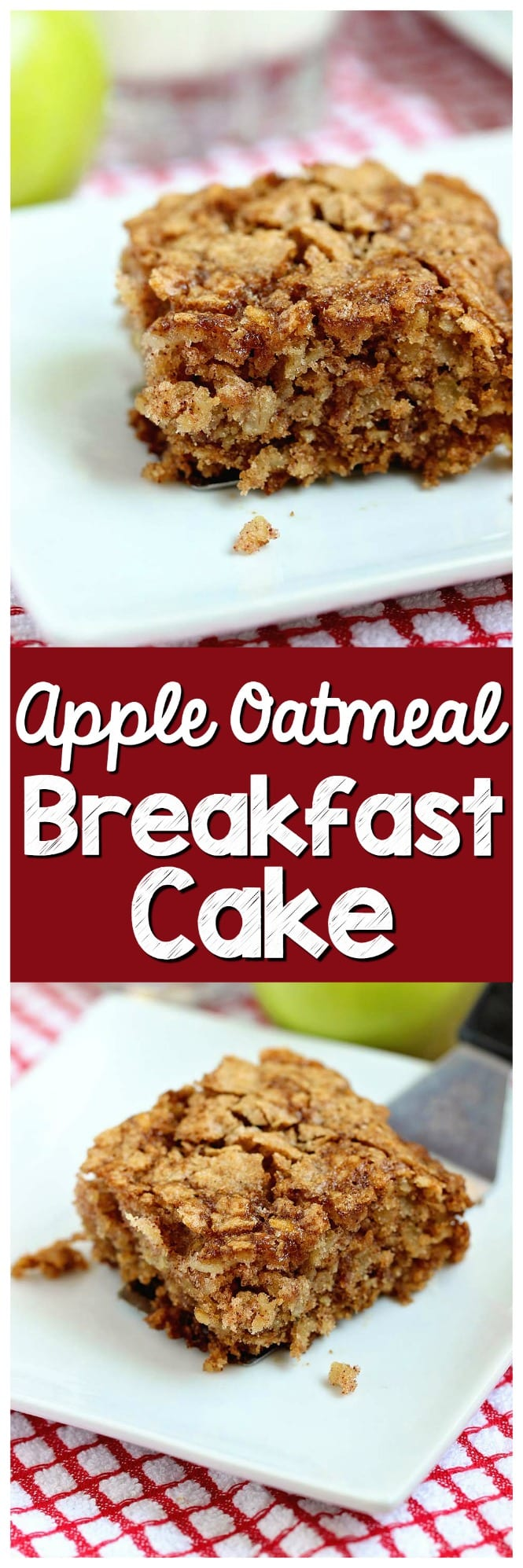 Apple Oatmeal Breakfast Cake - An easy and delicious breakfast or snack idea filled with shredded apples and oatmeal. It's perfect for back to school!