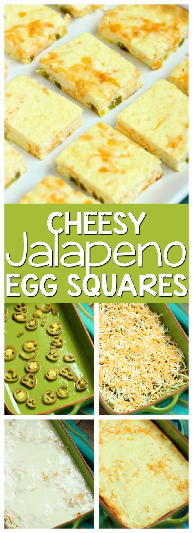 Cheesy Jalapeno Egg Squares - This appetizer recipe is so easy and perfect for those egg lovers!  Plus it's low carb!