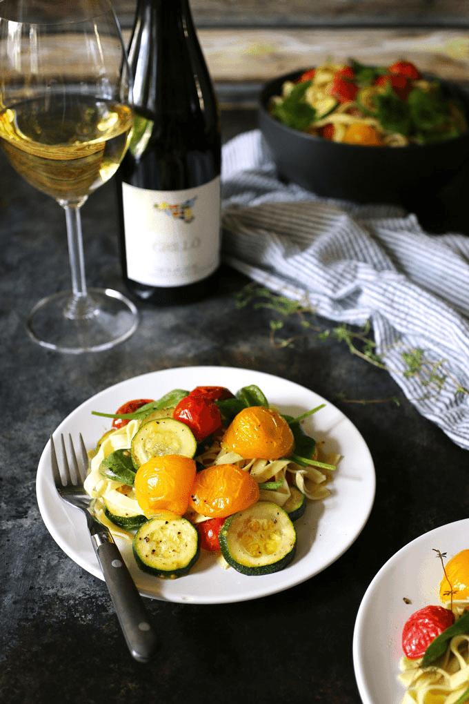 Roasted Tomato, Zucchini, Spinach Fettucini