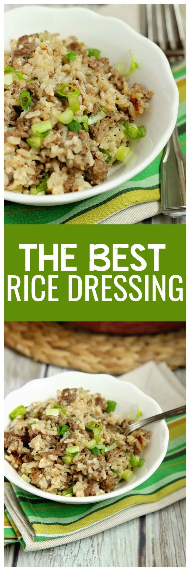 Best Rice Dressing - The perfect side dish to barbecues and baked ham, turkey, and chicken is rice dressing!  This recipe is delicious, easy, and feeds a crowd.