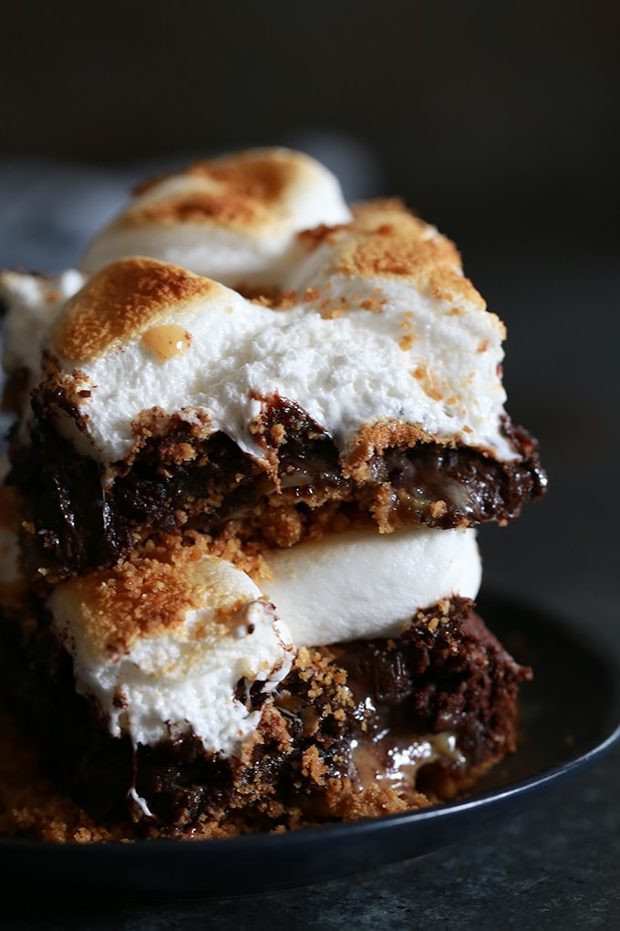Dulce De Leche Swirl S'mores Brownies