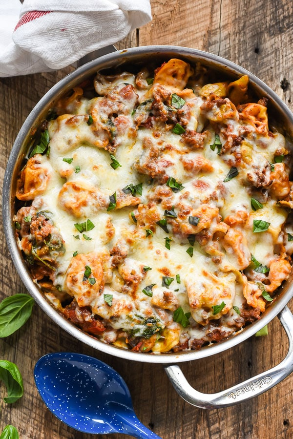 Cheesy One-Pot Tortellini and Sausage
