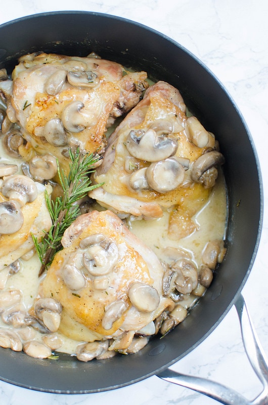Chicken Thighs with Creamy Rosemary Mushrooms