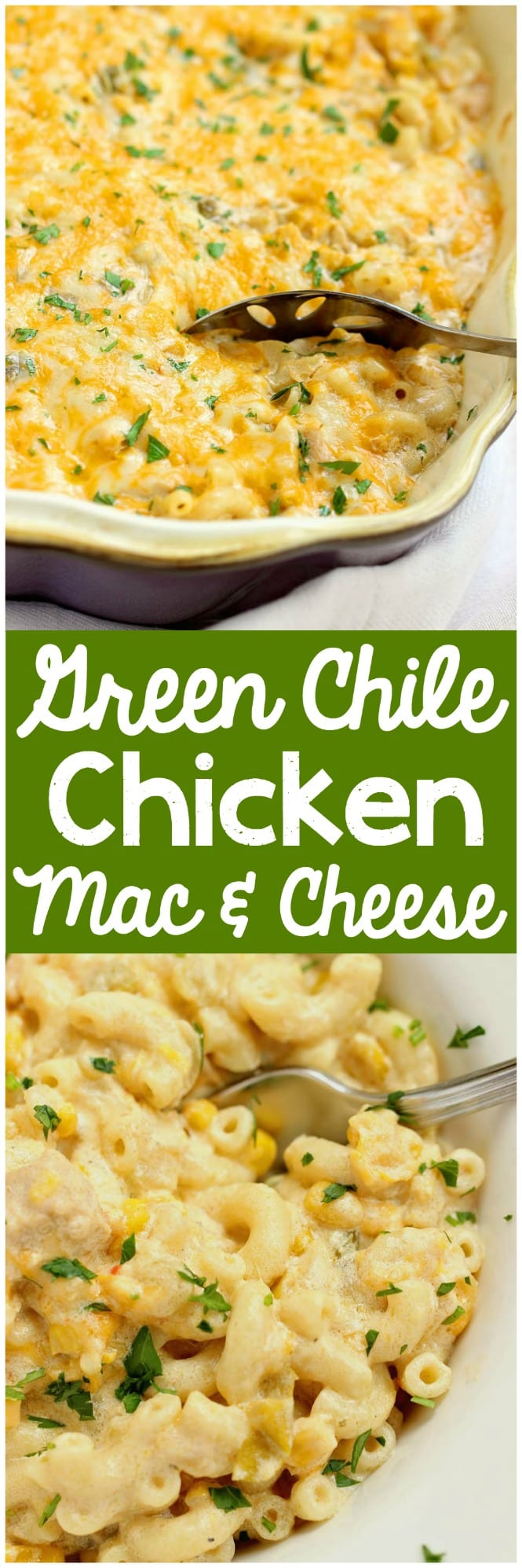 Green Chile Chicken Mac & Cheese - This hearty all-in-one macaroni and cheese dinner idea is filled with chicken, green chiles, corn, and of course all the creamy cheese!