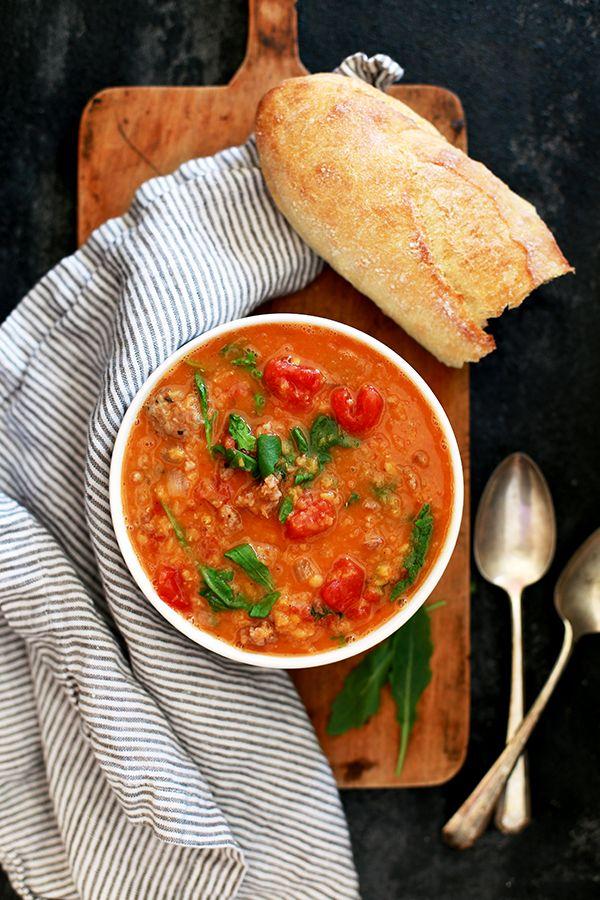Slow Cooker Sausage, Lentil, & Arugula Soup