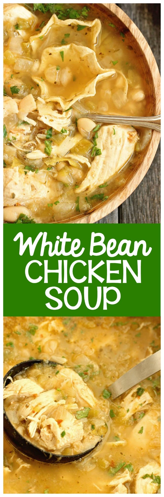 White Bean Chicken Soup - A healthy comforting soup recipe filled with chicken, Great Northern beans, green chiles, and tons of flavor!  It's a great recipe for dinner and for make-ahead lunches for the week! Plus, it's low-carb and only 2 freestyle points!