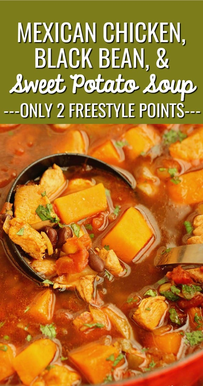 Mexican Chicken, Black Bean, & Sweet Potato Soup - An easy, healthy soup recipe idea perfect for cool winter months!  Plus, it's only 2 freestyle weight watchers points!