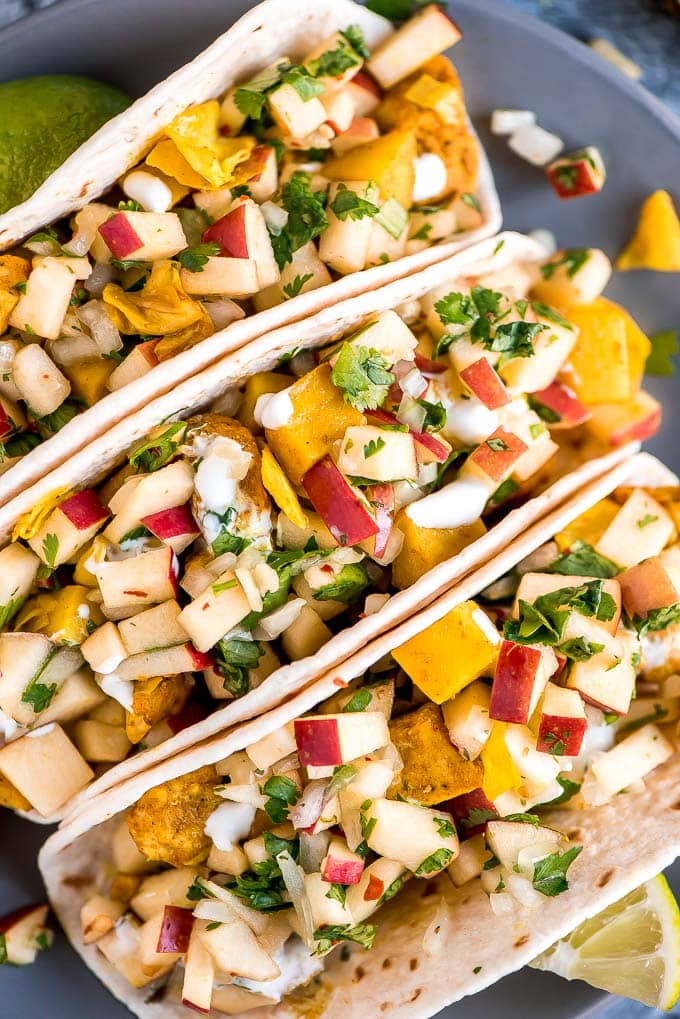 Chicken Cabbage Potato Tacos with Apple Pico De Gallo