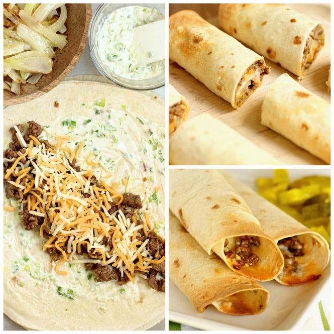 Crispy Cheeseburger Wraps - A crisp wrap filled all the good cheeseburger fixings including smothered onions and a garlic and green onion mayo.
