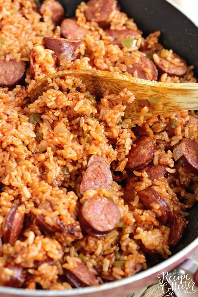 One-Pot Sausage and Red Rice - An easy creole recipe with only a few ingredients.  It's a delicious twist on Jambalaya!