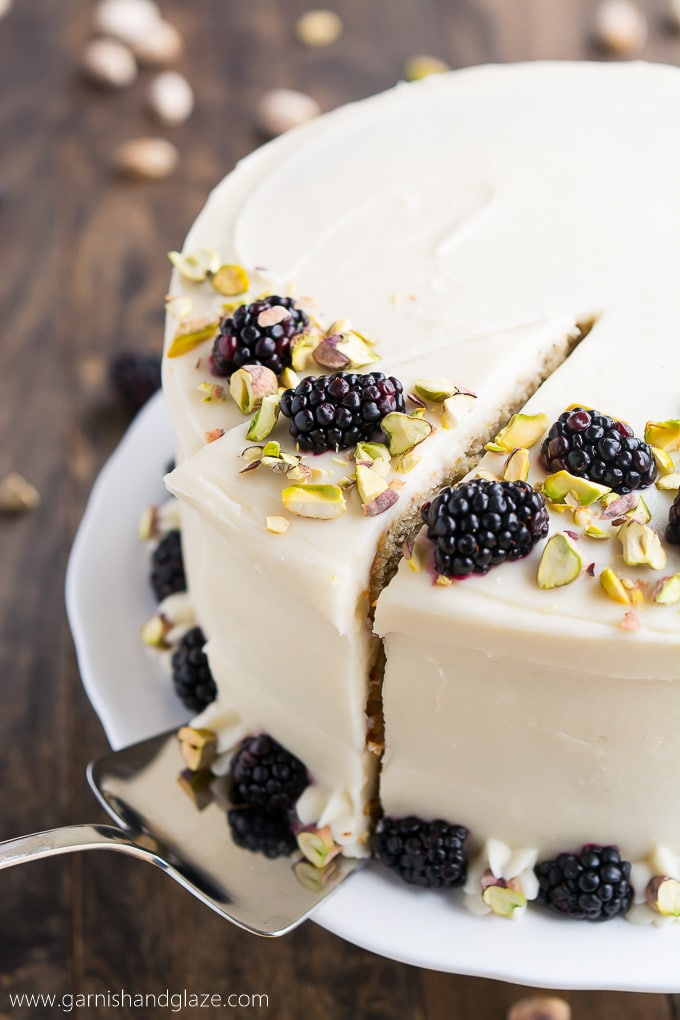Pistachio Cake with Honey Cream Cheese Frosting