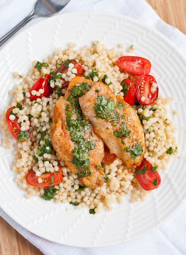 Cilantro Lemon Fish with Pearl Couscous and Tomatoes