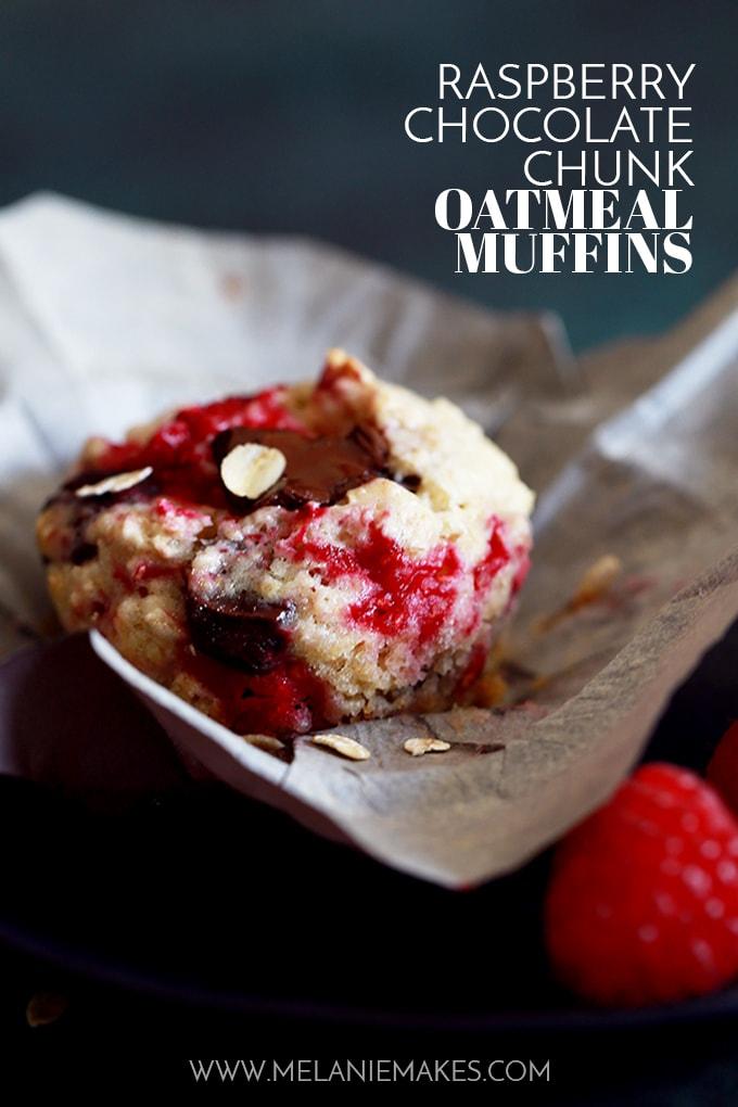 Raspberry Chocolate Chunk Oatmeal Muffins