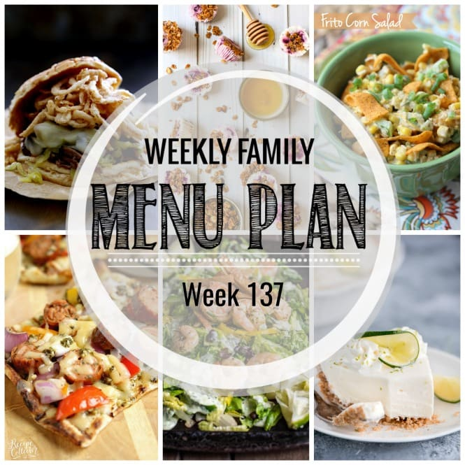 Weekly Family Meal Plan- Featuring several main dishes, a side dish, a soup, a breakfast, and two desserts!
