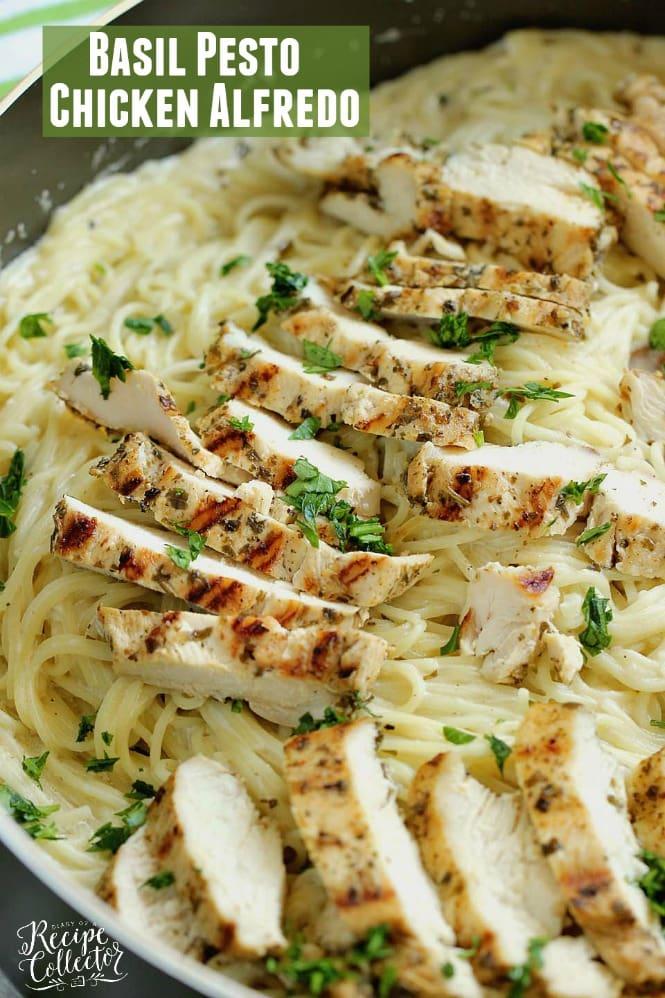 Basil Pesto Chicken Alfredo - An easy, delicious, and quick 30 minute chicken dinner recipe!