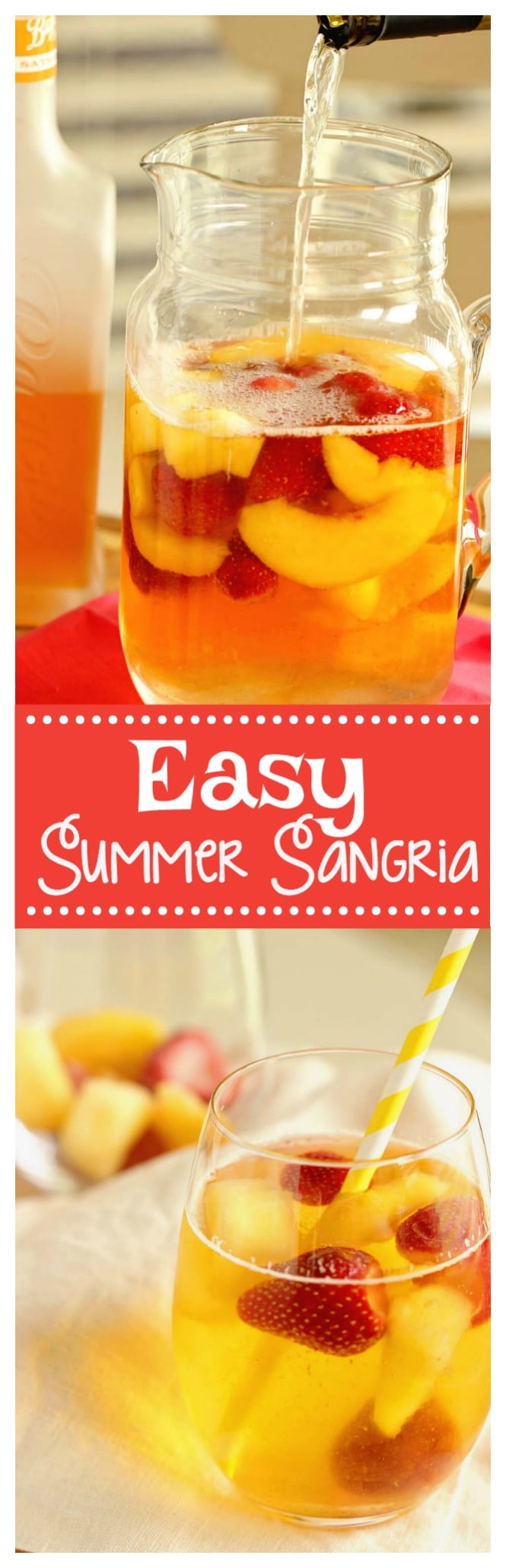 Easy Summer Sangria - A super easy sangria recipe perfect for the beach or the pool!  Plus, it can be made with white or red wine!!