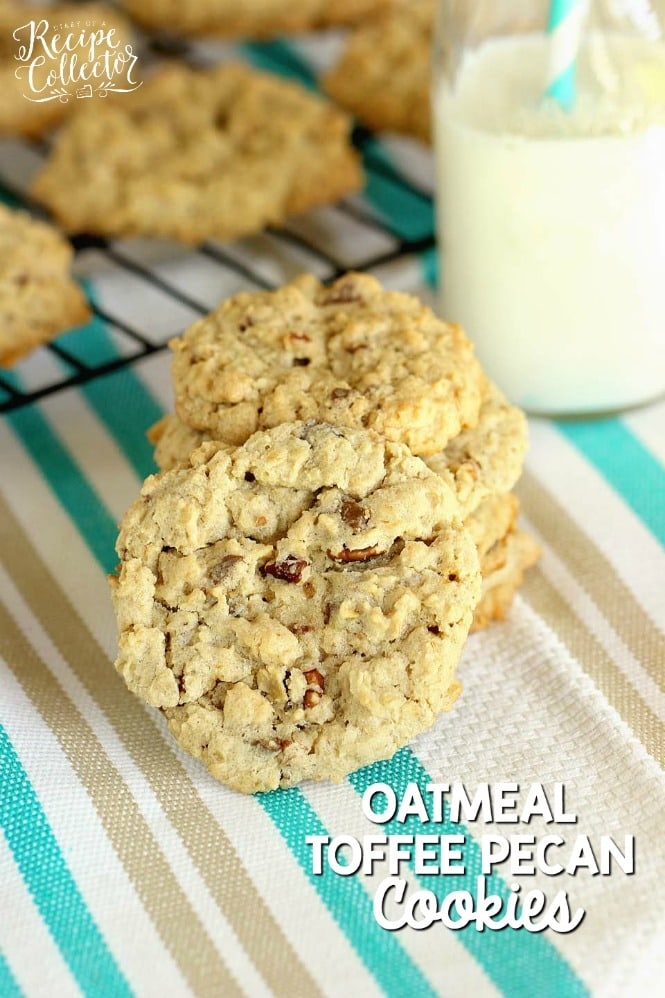 Oatmeal Toffee Pecan Cookies - A fuss-free delicious oatmeal cookie recipe.  No chilling required!
