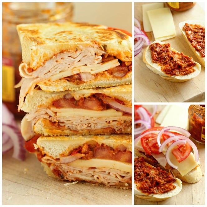 Sun-Dried Tomato Pesto Turkey Panini - An easy grilled sandwich recipe made easy and flavorful with sun-dried tomato pesto.